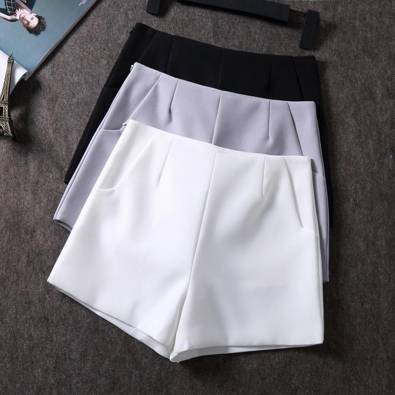 Été Shorts femme vêtements amples en mousseline de soie à taille haute Mini Shorts Femme Streetwear Blanc jambe large Femmes Solide Couleur Q2661