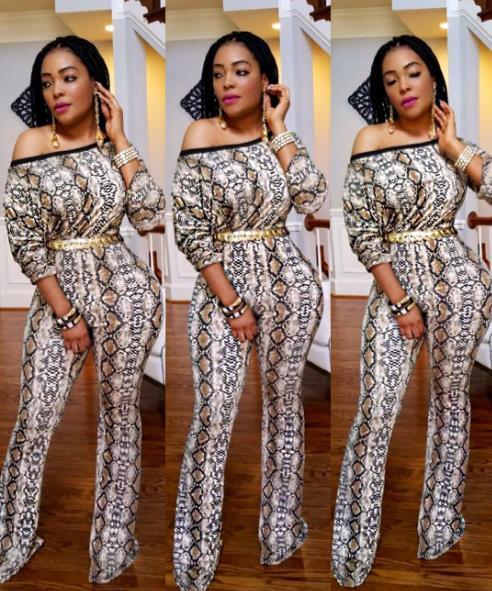 2019 아프리카 의상 스타일의 섹시한 비스듬한 어깨에 프린트 된 한 벌의 넓은 바지