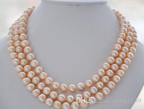 """Vente chaude AZ5870 NATUREL 3row 17-19 """"8-9mm rond collier de perles de culture d'eau douce a"""