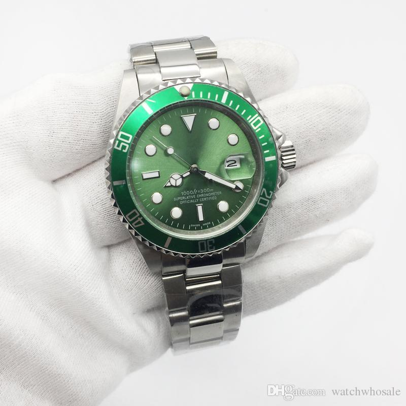 Venda quente Mens Watch Verde Dial Sub Mecânica Automática de Aço Inoxidável 116610 Homens de alta qualidade Relógios relógio de Pulso Masculino
