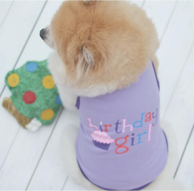 ropa para perros ropa del verano perros mascotas ropa para el perro medio del pequeño gato XS-L de la muchacha del muchacho de Cumpleaños lindo Impreso para mascotas camiseta del chaleco QW7533
