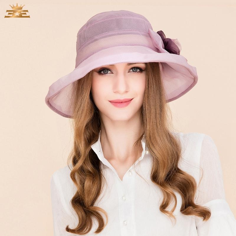 Elegant Light Purple Silk Fedoras Ladies Hats for Weddings Women Fascinator Cute Wide BrimFascinating Floral Hat B-8205