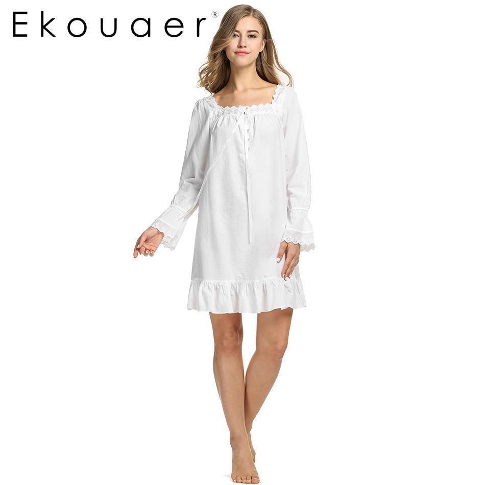 Wholesale- White Sleepwear Sleep Dress Long Sleeve Women Cotton Nightgowns Sexy Long Robe Home Dress Nightdress Summer Wear