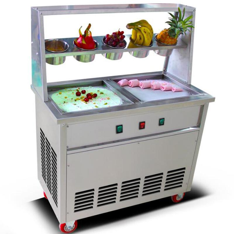 Factory direct sales 2 pots 5 bowls with thaw function ice roll machine commercial fried ice cream machine yogurt ice cream machine