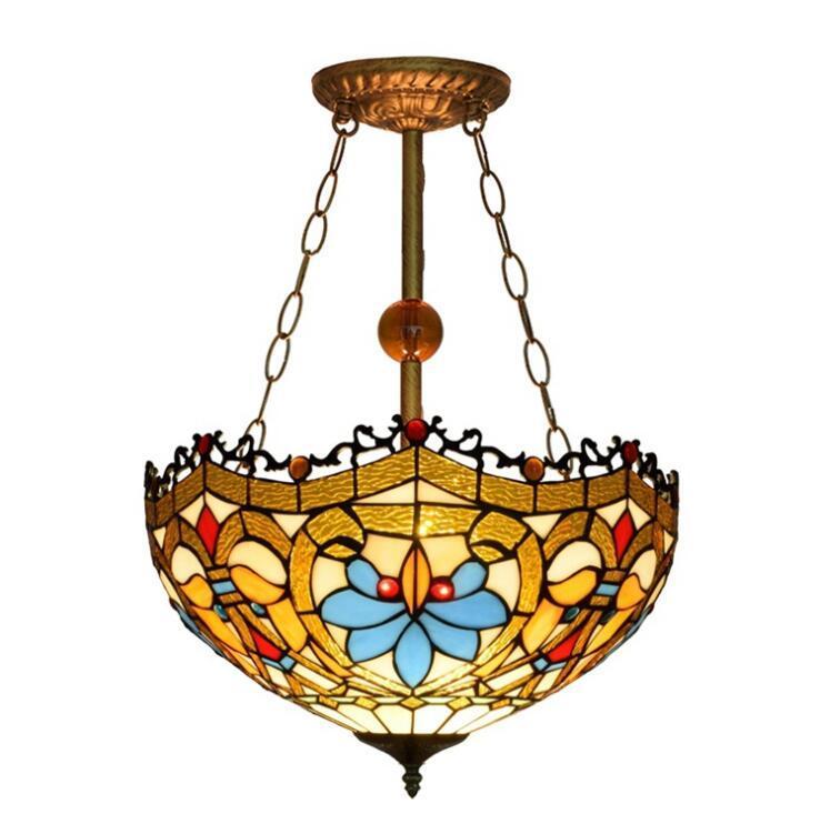 Lambalar Asılı Avrupa Barok Tiffany Sarkıt Vitray Avize Aydınlatma Armatür Retro Yemek Odası Bar