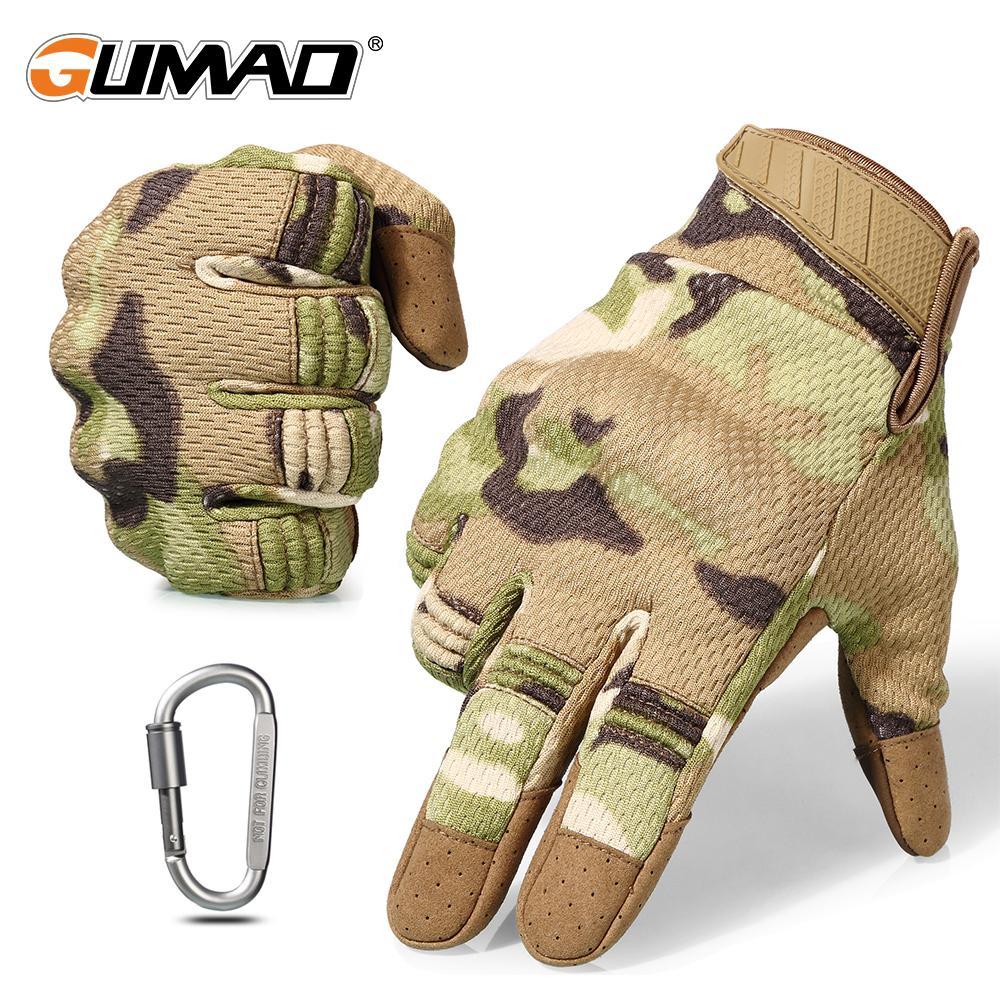 Touch Screen Multicam Camouflage tático luvas militar do exército Airsoft ao ar livre escalada Tiro Paintball completa luvas de dedos T200610