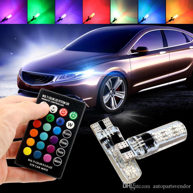 Liquidación 10XRGB T10 W5W coche LED se enciende SMD RGB LED T10 194 168 bulbo remoto Ancho interior Fuente de luz Car Styling