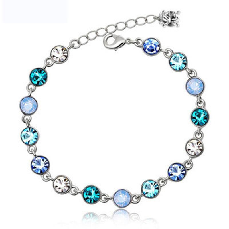 Gümüş kaplama Starlight kristal bilezik bayan modelleri kristal bilezik sevimli moda takı vahşi retro takı süper flaş birthstone K6093
