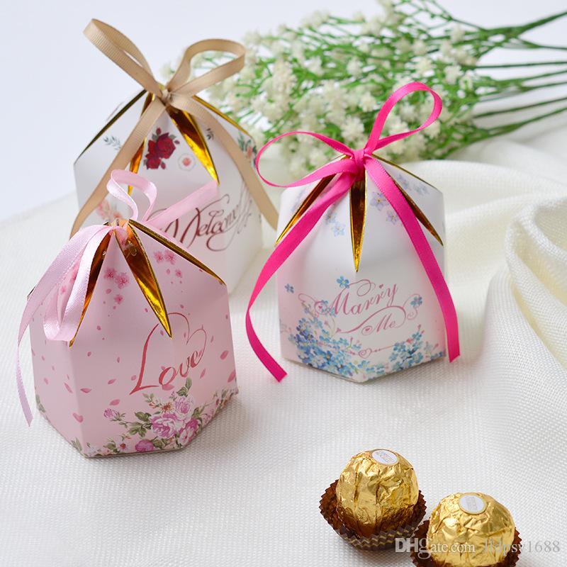 100 ADET Yaratıcı hediyeler ile altıgen romantik Avrupa düğün şeker kutusu parti malzemeleri Bomboniera hediye kutusu Bebek D ...