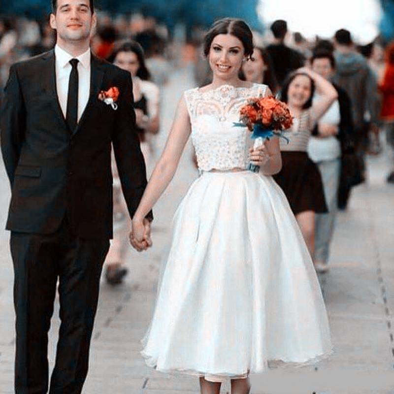 Dos piezas un vestido sin mangas de los vestidos de boda Línea tapa del cordón de la boda vestidos de novia de longitud de té corto vestido Vestidos de boda