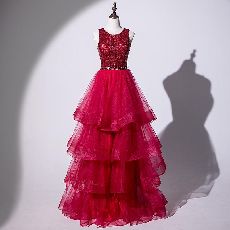 Rouge foncé longue robe de bal couches tulle avec Paillettes Robe longue soirée avec Bretelle New Arrival Livraison gratuite