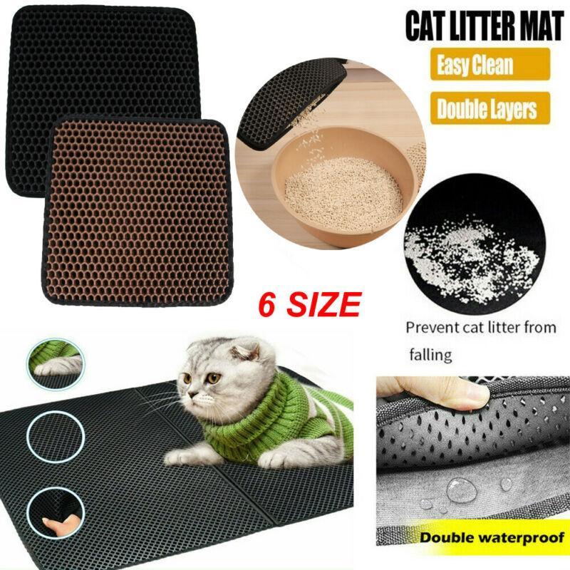 방수 바닥 미끄럼 방지 애완 동물 쓰레기 고양이 매트 계층 kattenmand와 고양이 쓰레기 매트 EVA 더블 레이어 애완 동물 고양이 쓰레기 사냥꾼 매트