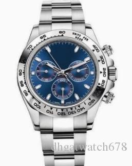 Luxus-Design-Uhr Original Box 40mm 116509 Nein Chronograph automatisches mechanisches Mens Dial Uhren Weiße Silber Blau Oberfläche Male Uhr fash