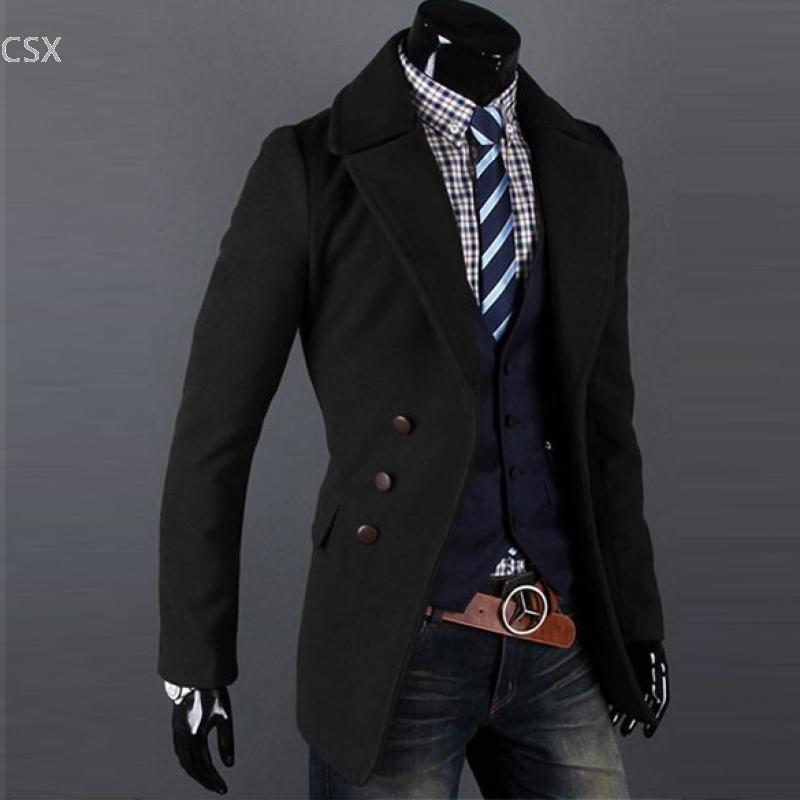 Мужская куртка однобортный роскошный широкий лацкан зимнее шерстяное пальто пальто куртка 2 цвета M, L, XL, XXL Бесплатная доставка 31