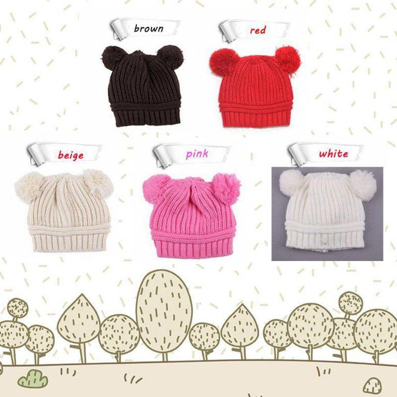 5 Styles Infant Baby Unisex Double Bobbles Beanies Knitted Ribbed Hats Children Kids Autumn Winter Warm Solid Color Caps