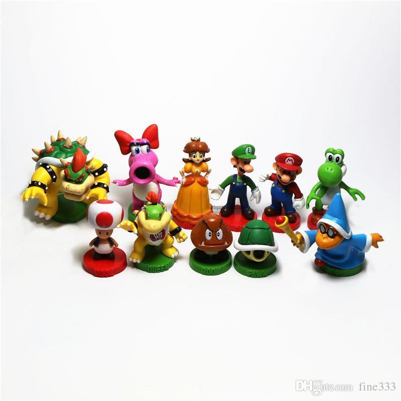 New Mario fans Figures Toy Yoshi Princesse Bowser Figures Poupée Jouets Mario Cartoon Accessoires gros W1482