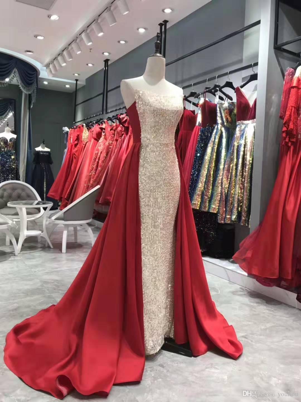 2020 Dubai chérie Robes de bal Costumes Pantalons sirène manches Robes de fête formelle Jumpsuit robes de célébrité