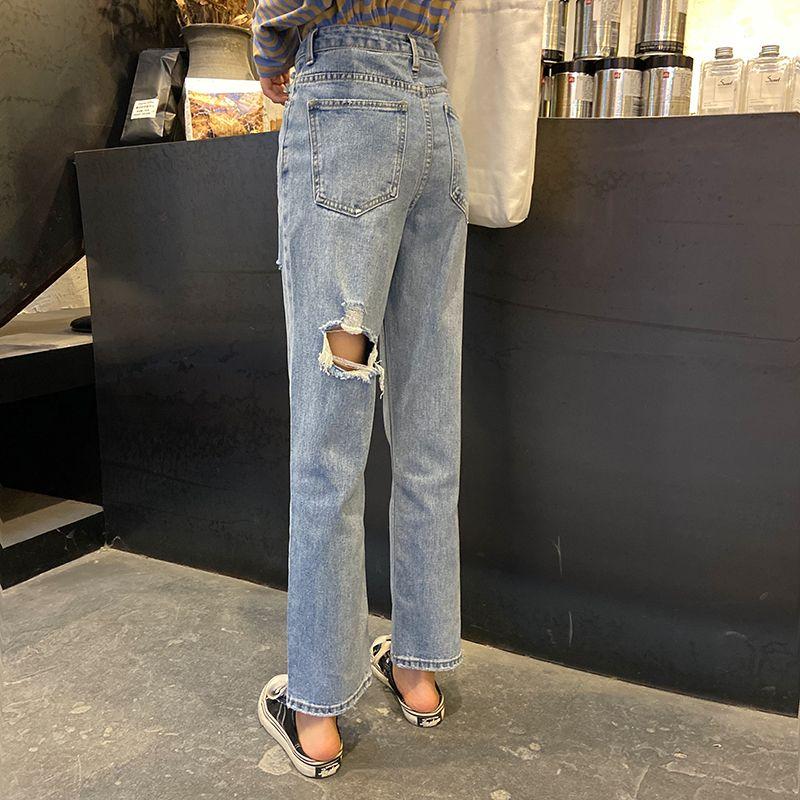 Compre Mujer Vaqueros De Cintura Alta Pantalones Vaqueros Rasgados 2020 Articulos En Oferta Para La Ropa Pantalones Anchos De La Pierna De La Vendimia El Dril De Algodon Azul Ropa De Calle