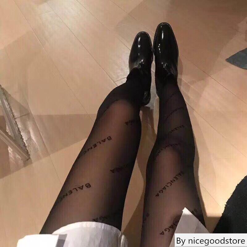 Moda de Nova completa BA Transparente Meias Europa América Pure Color Reunindo Carta Pantynose Mulheres Preto calças justas Atacado