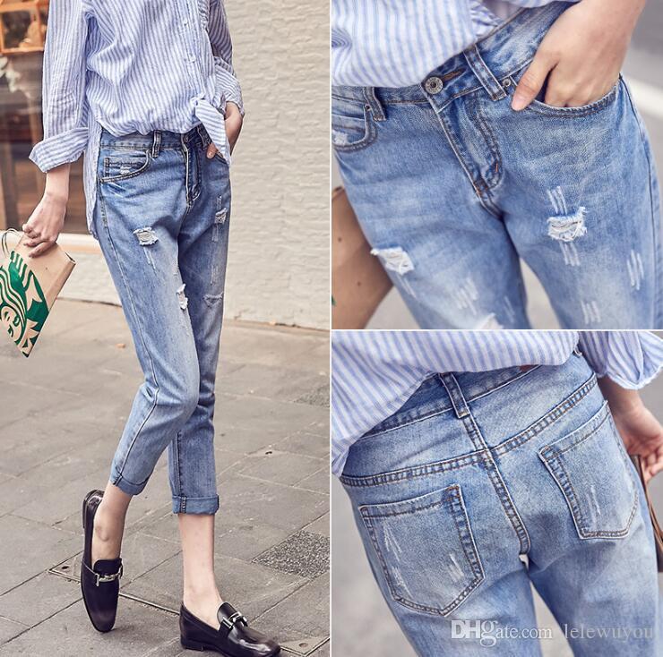 Coreano solto alta corte calça jeans cintura lavados calças de ganga velha calças cortadas calças mendigos olhar magro e elegante