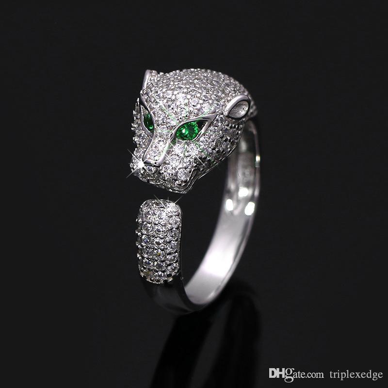 العلامة التجارية الأوروبية والأمريكية الجديدة 925 رأس الفضة نمر مرصع الصغرى الزركون كامل قابل للتعديل خاتم الأزياء النسائية خاتم الخطوبة