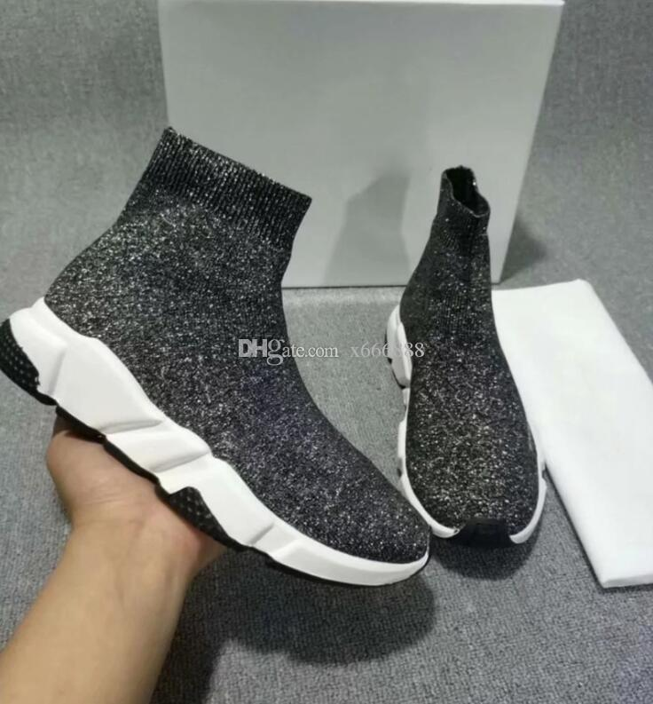 New Design Luxury Sock Shoe Speed Trainer Breathable Sneakers Speed Trainer Sock Race Runners black Shoes men and women Sports Shoes 35-45