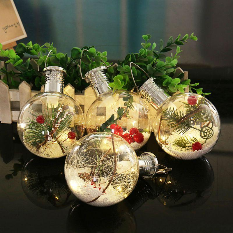 Solar Ball Christmas Pendant Copper Wire Bulb Hanging Lamp Christmas Tree Decoration Drop Ornaments