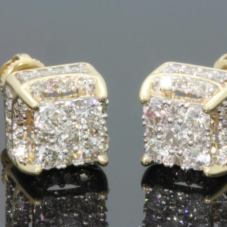 Rhinestone de cristal brincos de cobre Praça da cor do ouro Cubic Zircon Brinco Mulheres Homens Moda Hip Hop Jewelry