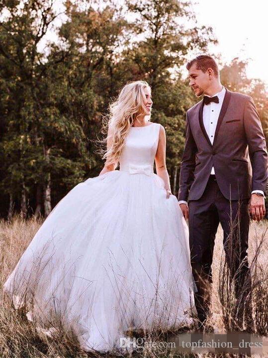 2019 Paese Abiti Da Sposa Una Linea Senza Maniche Bow Tulle Bow Backless Custom Made Plus Size Abito Da Sposa Matrimonio vestido de novia