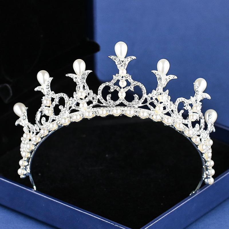 Koreanische Perle Braut Tiara Hairband Silber Kopfschmuck für Hochzeit Haarschmuck Braut Strass Hairband Brides Crystal Crown S574
