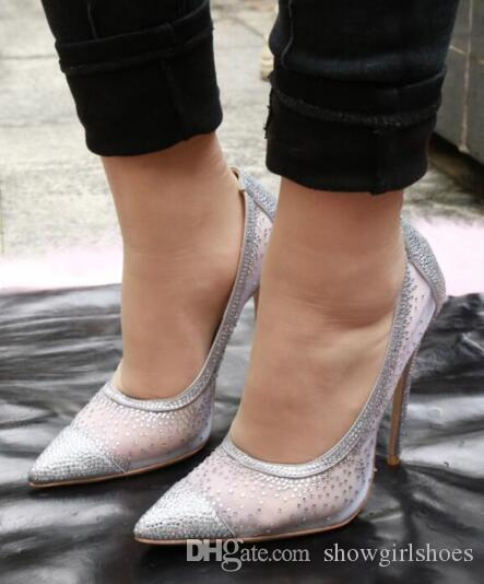 Chic Air Mesh Elegant Silver Gold Studded Jewelry Thin High Heel Women Shoes Classic Point Toe Slim Shallow Candy Colors Pumps