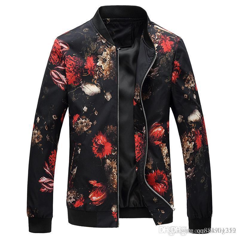 Jacket Men Herbst New Leopard-Tierdruck-Trend beiläufige Baseball Uniform Stehkragen Thin-Mantel-Größe M-3XL Männer Jacke