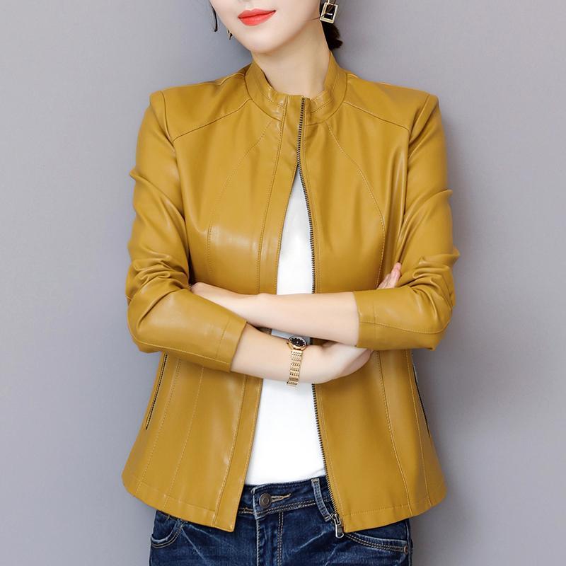 Alta calidad de la chaqueta de cuero de las mujeres de cuero de la PU lavado cortocircuito de la chaqueta del collar del soporte de la cremallera delgada de las señoras de M-5XL