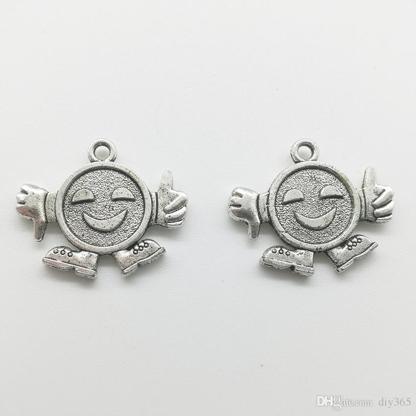 80pcs Robot antique silver charms pendants jewelry DIY Necklace Bracelet Earrings accessories 23x19mm Customize Generation delivery