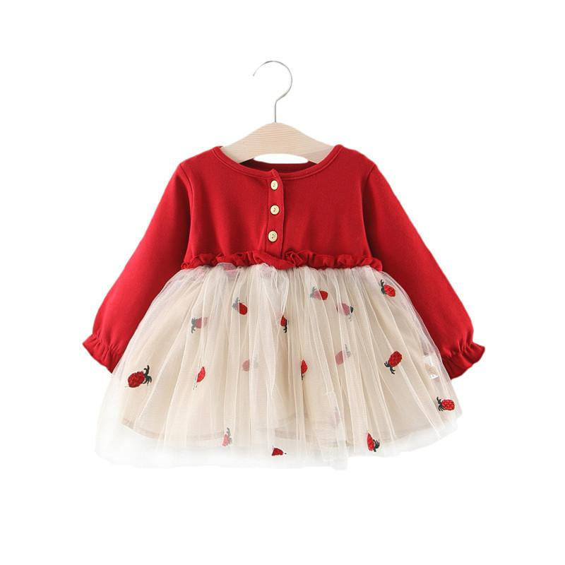 Lawadka Cute Baby Dress Newborn Baby Dresses For Girl Princess Lace First Birthday Girl Party Dresses Red Baby Outfits Clothes Y19050801