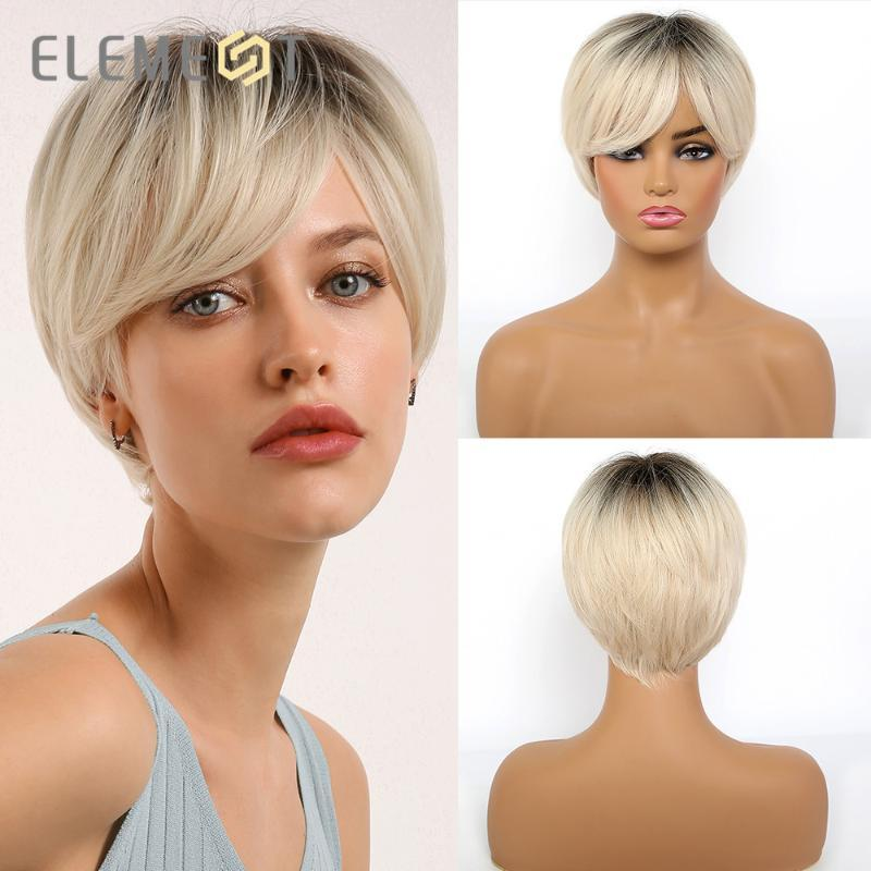 Synthetic Short Straight Black Root Ombre Blonde Pixie Cut Wigs With Side Bangs For White Black Women Heat Resistant Half Wig Full Lace Synthetic Wig From May512 30 72 Dhgate Com