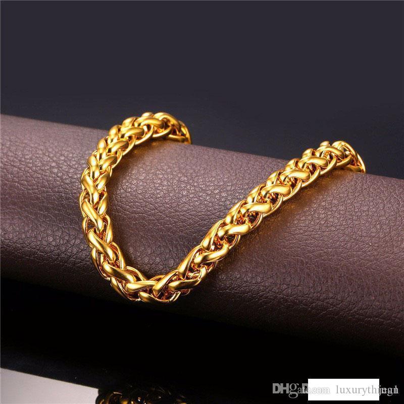 Figaro Колье Цепь 18K Real Позолоченных ожерелья Роскошные ювелирные изделия для мужчин Мужской партии подарков Рок Рэпер 5MM кубинское звено цепи Бесплатной доставки