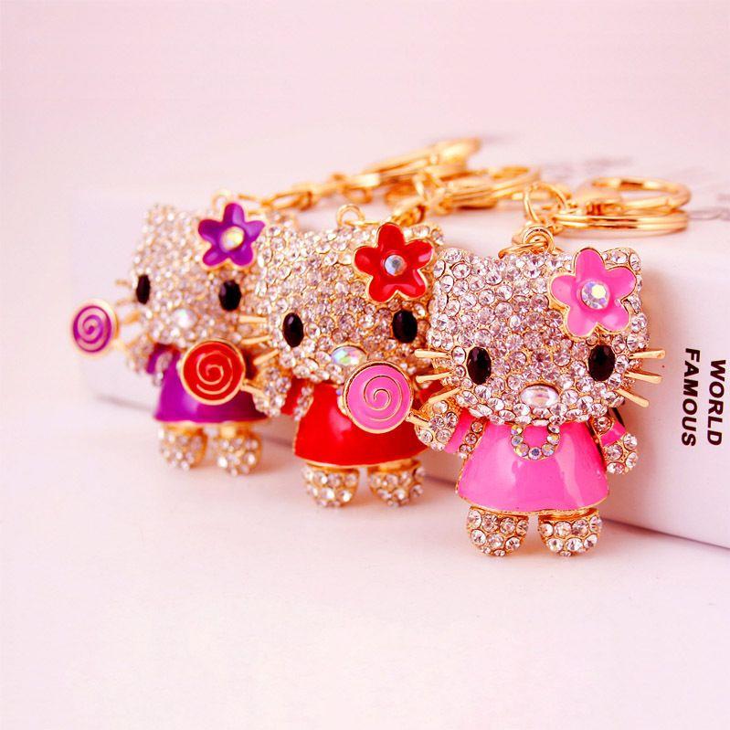 Kreative nette Diamant Lutscher Katze Schlüsselanhänger Kätzchen Metall Anhänger Beutel der Frauen Zubehör Schlüsselanhänger
