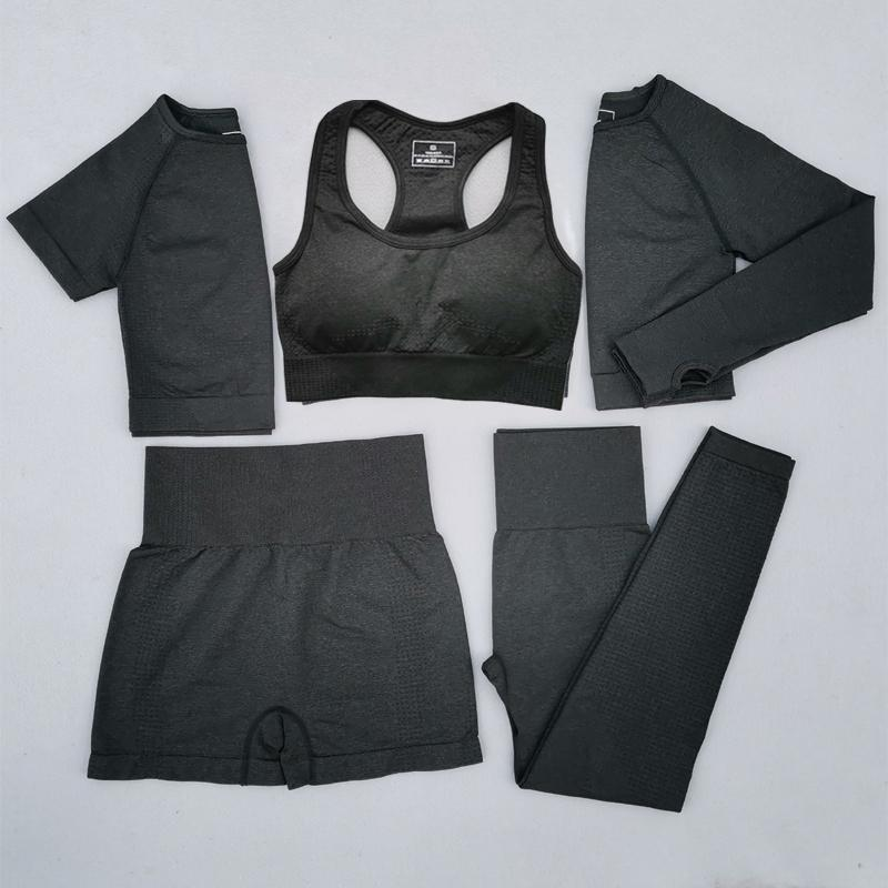 2/3 / 5pcs Mujeres Yoga Vital sin fisuras sistema de la manga de fitness Corto Largo Crop Top shirts Funcionamiento polainas Pantalones cortos de entrenamiento ropa de gimnasia Conjunto
