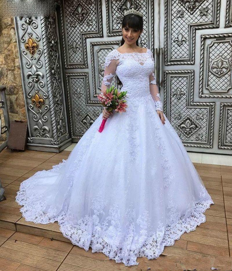 2020 Элегантные линии с длинным рукавом свадебные платья Поезд стреловидности с аппликацией Свадебные платья