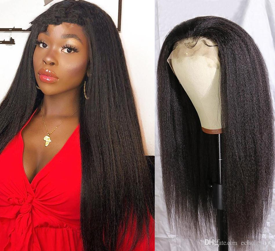 Capelli diritta crespa parrucca anteriore del merletto umano parrucche brasiliano pizzo Parrucca Frontal 360 parrucca di capelli umani Coarse Yaki
