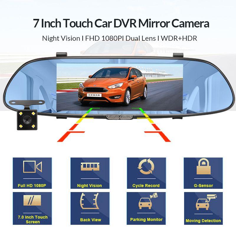 Araba DVR FHD 1080P Geri Görüş Kamerası Oto Registrator Dash Cam ile 7.0 inç Araç Video Kaydedici Ayna Kamera Çift Lens