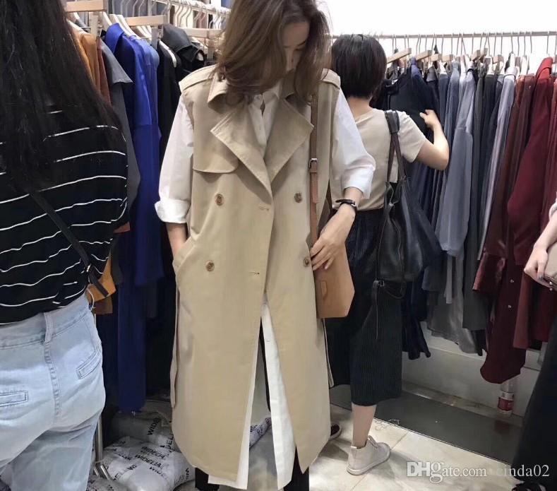المرأة الخريف سترة معطف سيدة ارتداء صدرية طويلة الشق الياقة اعتلى مزدوجة أكمام الصلبة اللون السترة سترة زائد الحجم