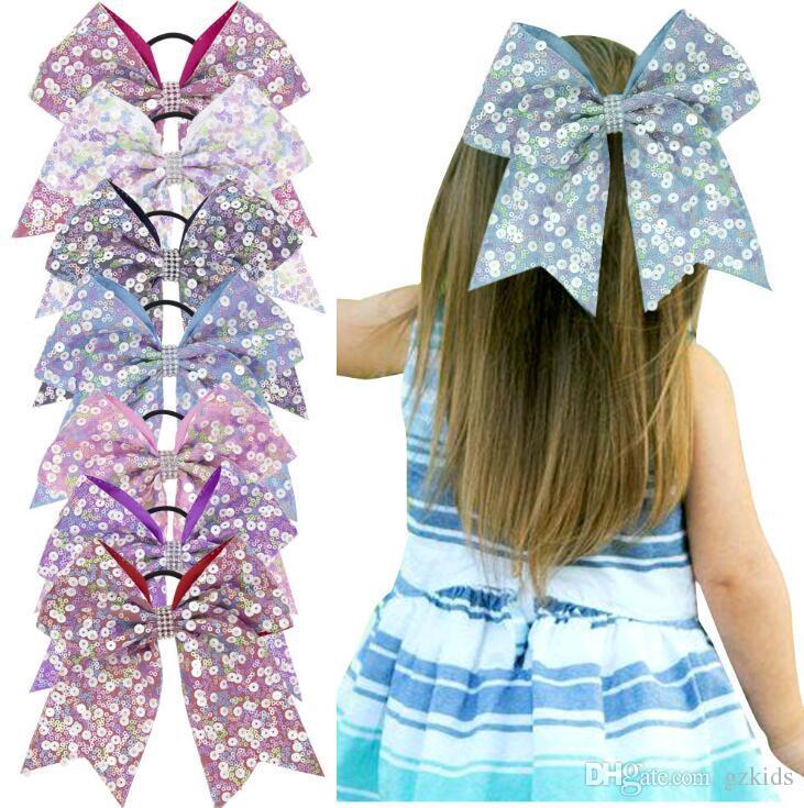 Mädchen Großer robuster Pailletten-Haar-Seil-Mädchen-Bögen mit Seil oder Klipp-Haar beugt elastischen Haar-Riegel für Teen Mädchen-Kinder