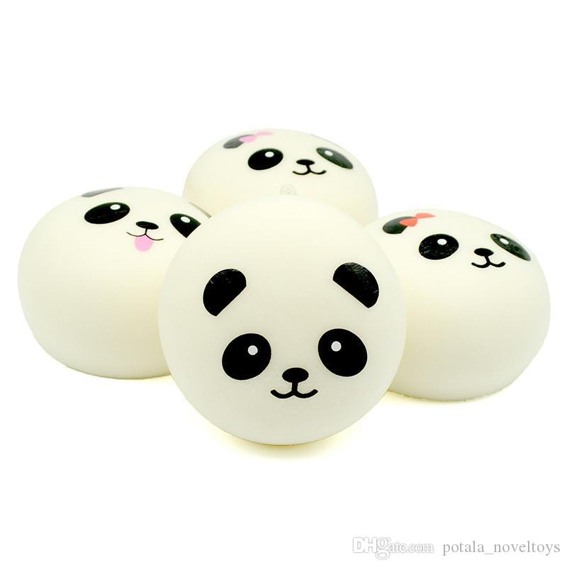 Squishy emulation panda keychain expression bread 4cm PU with hanging rope slow rebound mobile phone pendant creative crafts extrusion vent