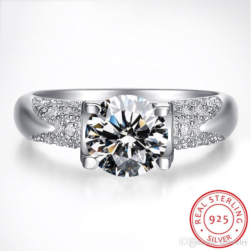 100% 925 Sterling Silver Dressed Bridal Engagement Unique Design Style Classic Ladies Ring Inlay High Quality Zircon Jewelry Wholesale XR024