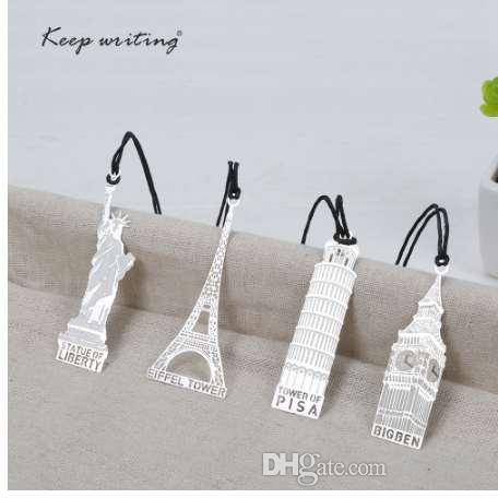 1 PCS Cute Lovely Metal Bookmark World famous landmark Retro book marks Fashion signation Creative Gift School Stationery