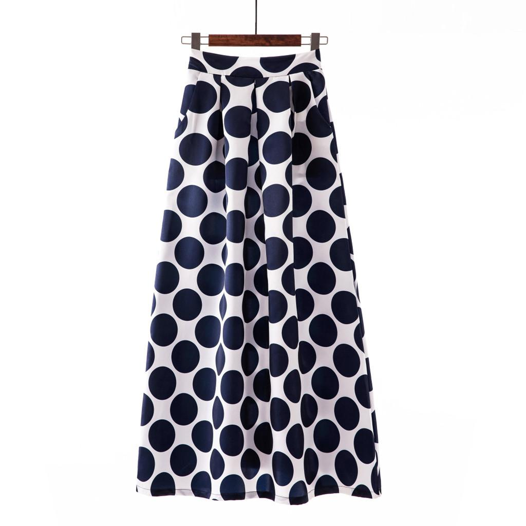 S-XXXL Red Navy Black Polka Dot Women Skirt Long Spring Summer Chic Vacation Boho Beach Skirts Mid Waist Female Retro Skirt O13