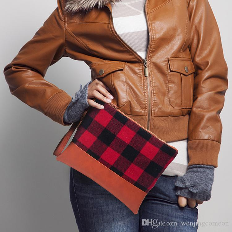 버팔로 격자 무늬 Cosemtic 가방 도매 공백 레드 체크 팔찌 핸드백 여성 액세서리 클러치 블랙 / 레드 / 블랙