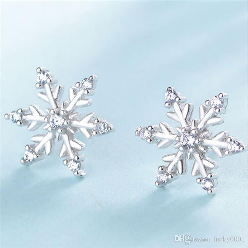 Новая мода Циркон серьги симпатичные маленький свежий снежинка серьги женские ювелирные изделия день рождения подарки